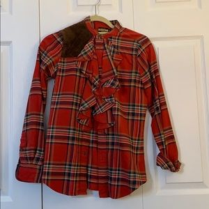 Red Plaid Ruffled Blouse - Rugby Ralph Lauren